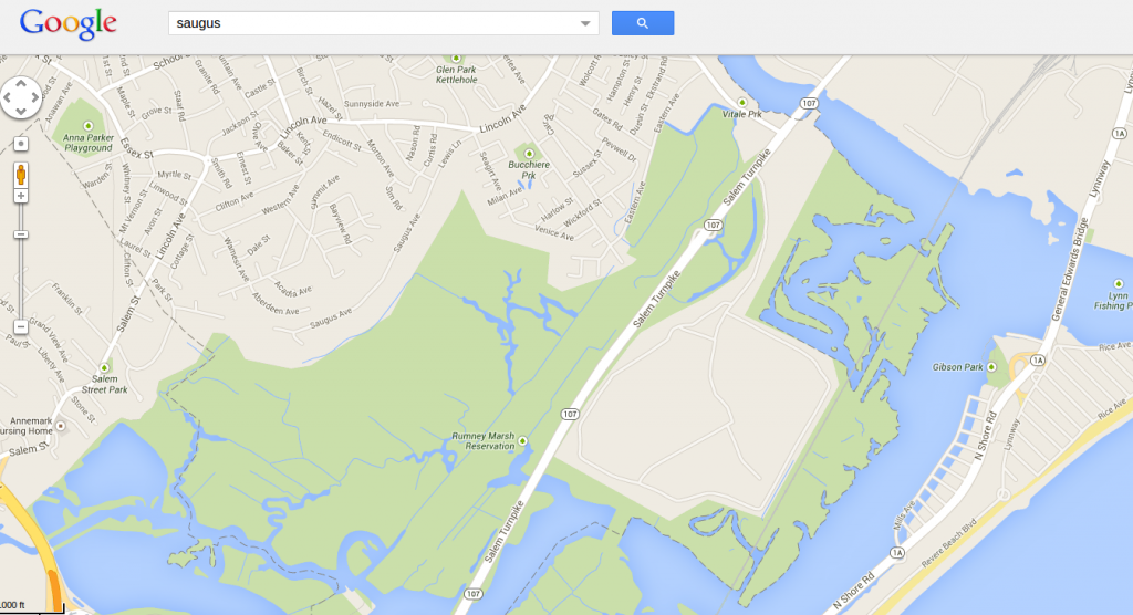 Mapa de Saugus en Google Maps. El vertedero no está dibujado.