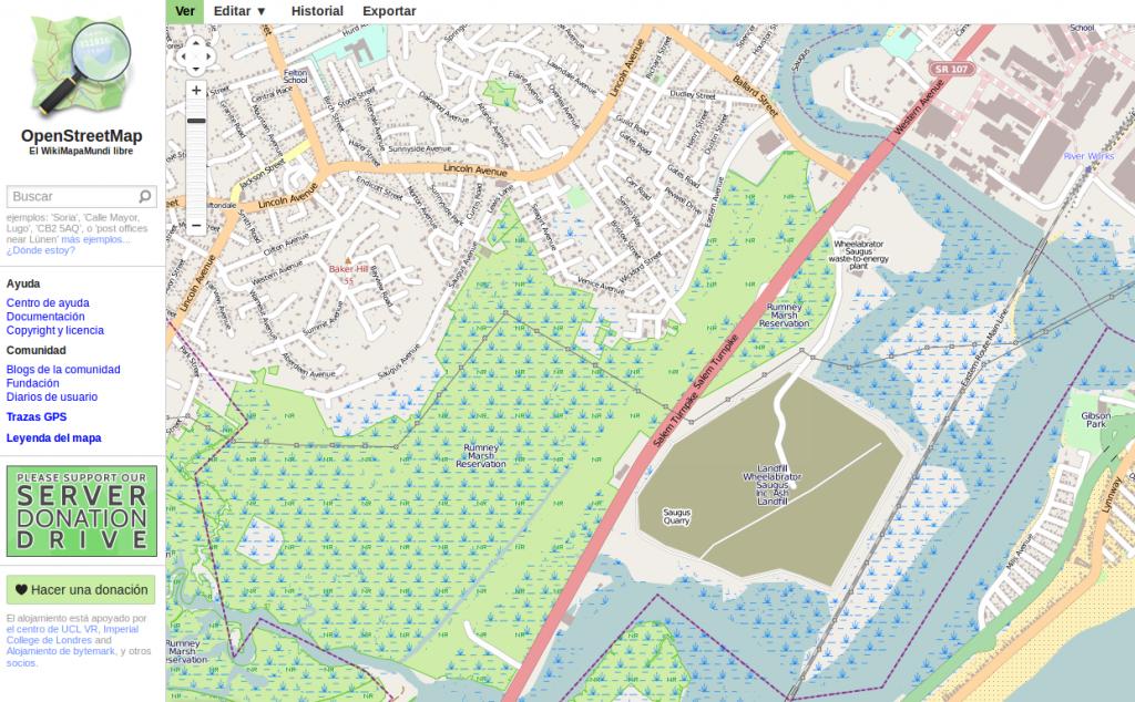 Mapa de Saugus en OpenSteetMap. La mancha marrón es el vertedero.