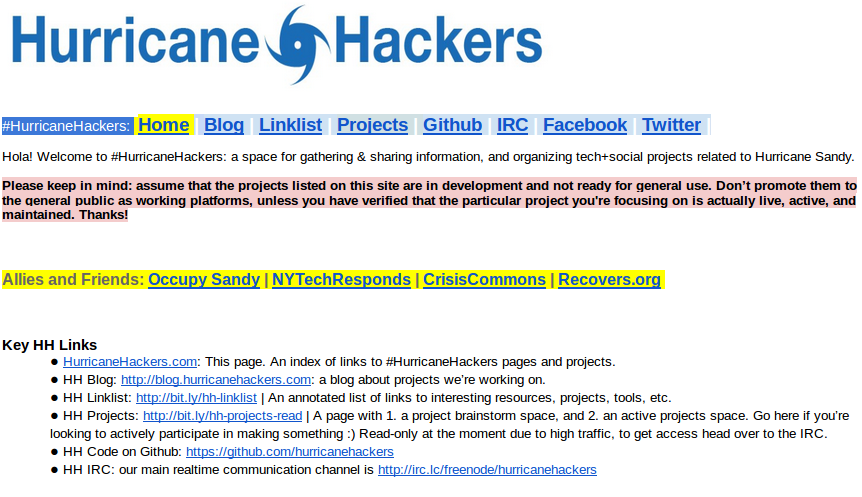 Documento en Googledocs, índice de HurricaneHackers. http://bit.ly/hh-index