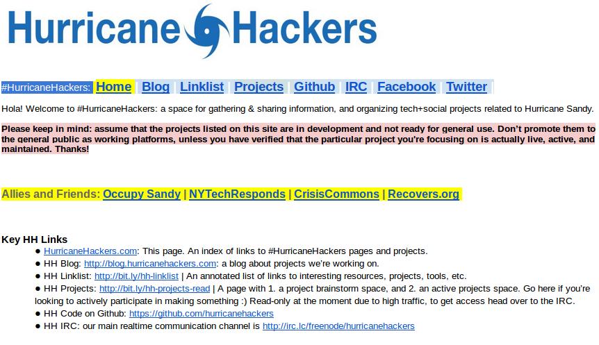 Documento en Googledocs, índice de HurricaneHackers. http://bit.ly/hh-index