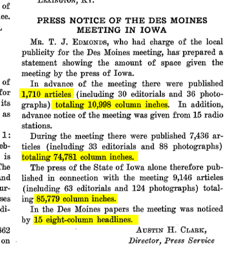 Article about column inches and number of headlines in newspapers in 1930