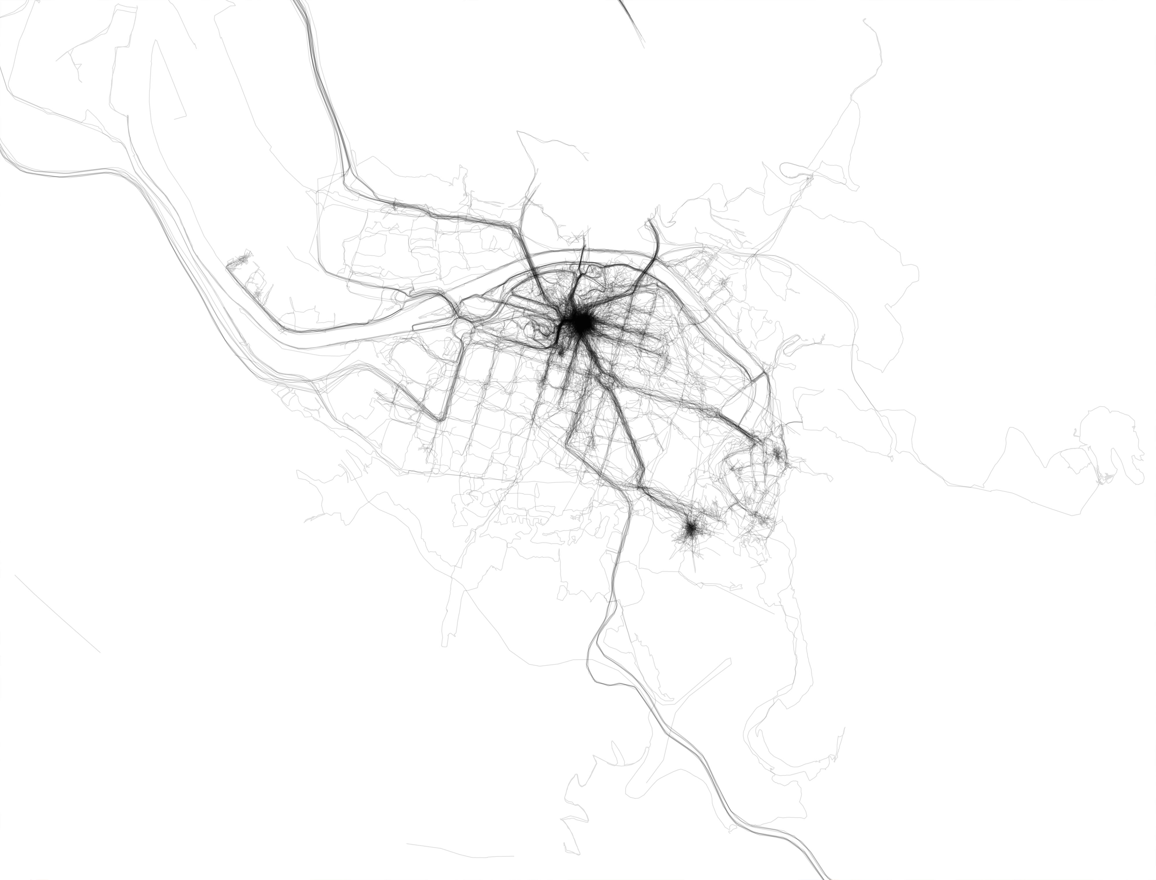 Trazas de GPS de un año en Bilbao