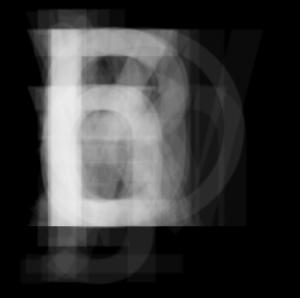 Superposicion de letras de tipografía DIN