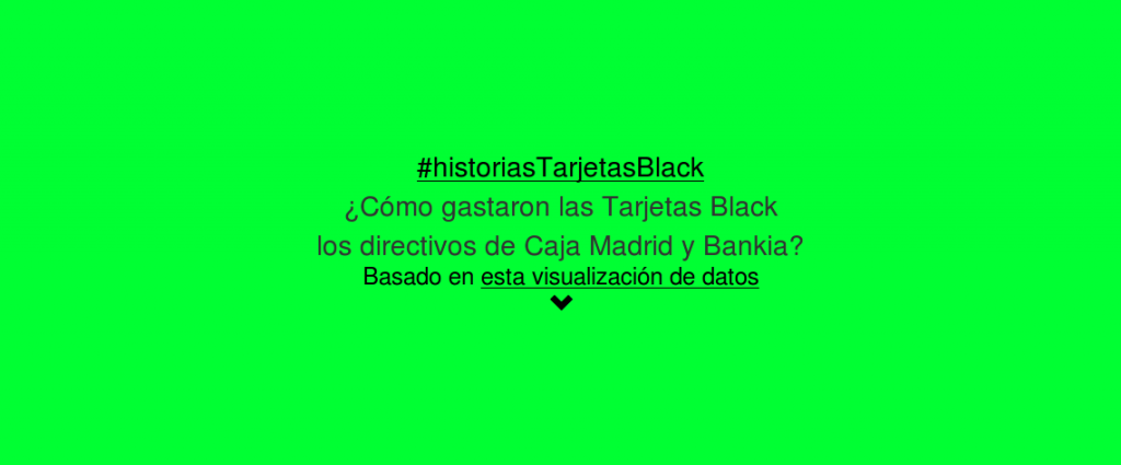 "Primera ""diapositiva"" del scroll de las Historias de las 'tarjetas black'"