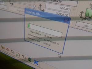 El software calculaba, con el eps mal preparado (las líneas estaban dobles), que iba a tardas más de 1.000.000 de horas en leer el archivo.
